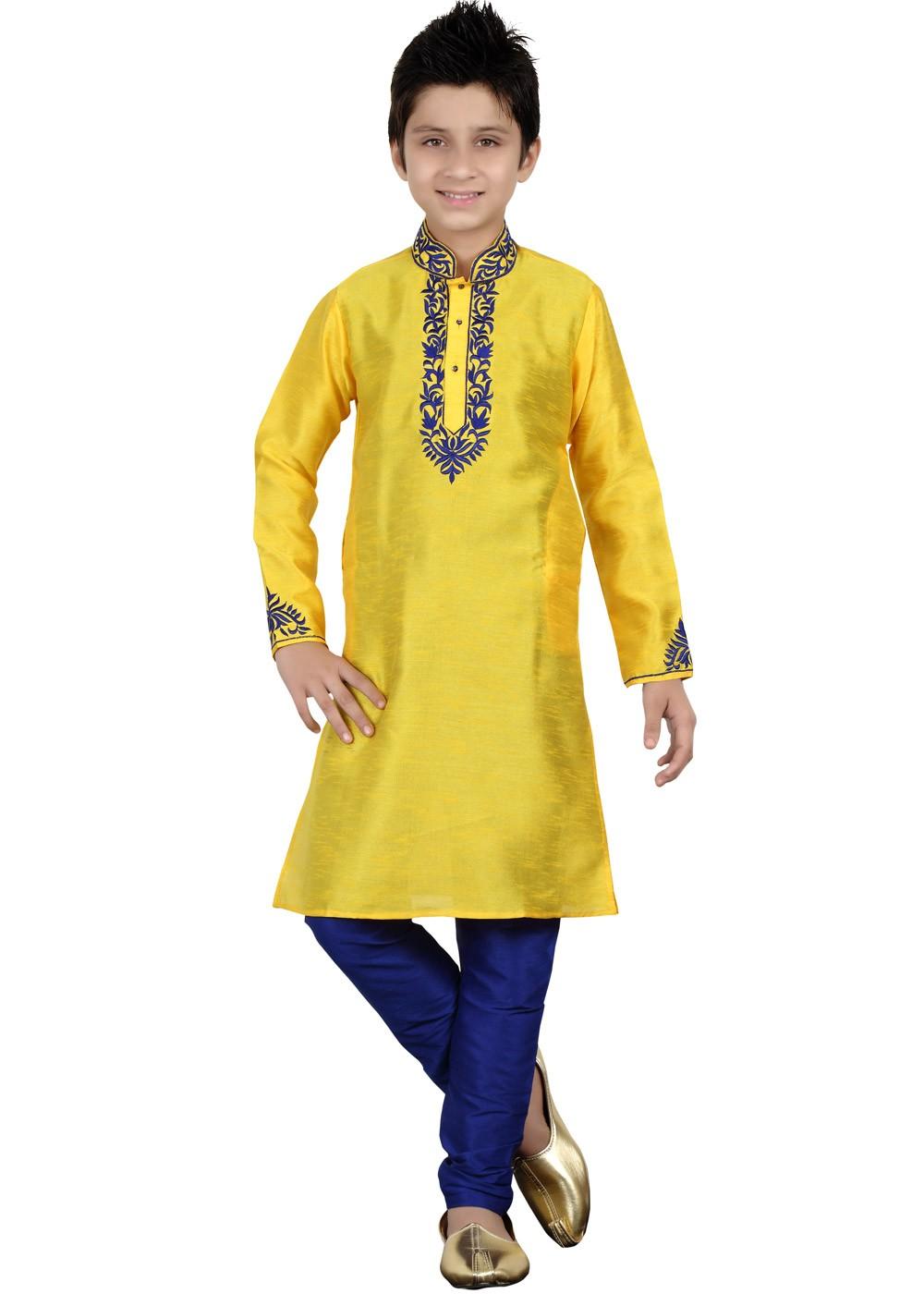d1f9980f30 Readymade Yellow Art Silk Kids Kurta Pajama 144KW31