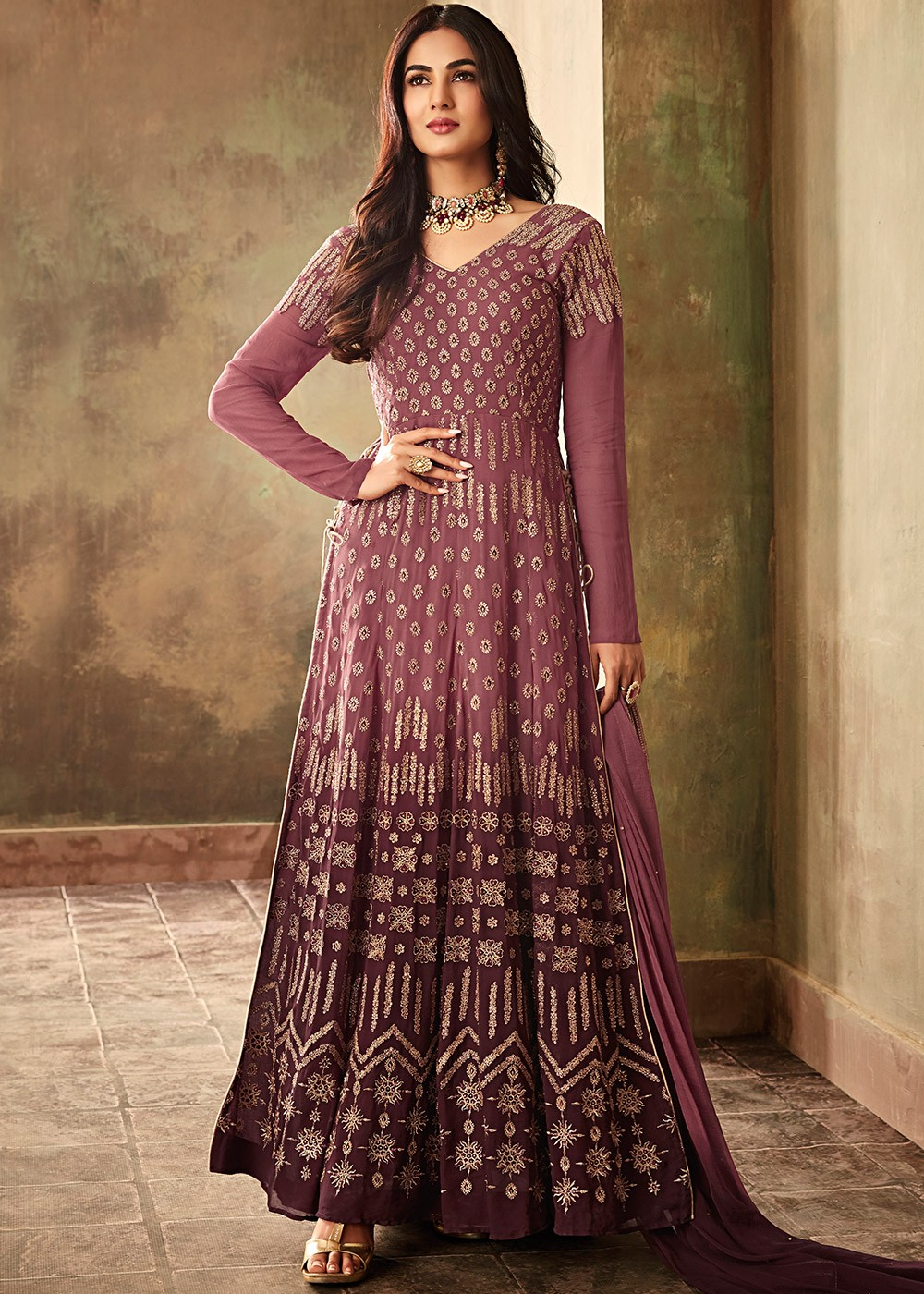 9b1cca9d8f Sonal Chauhan Shaded Mauve Embroidered Slit Style Suit Latest 2547SL06