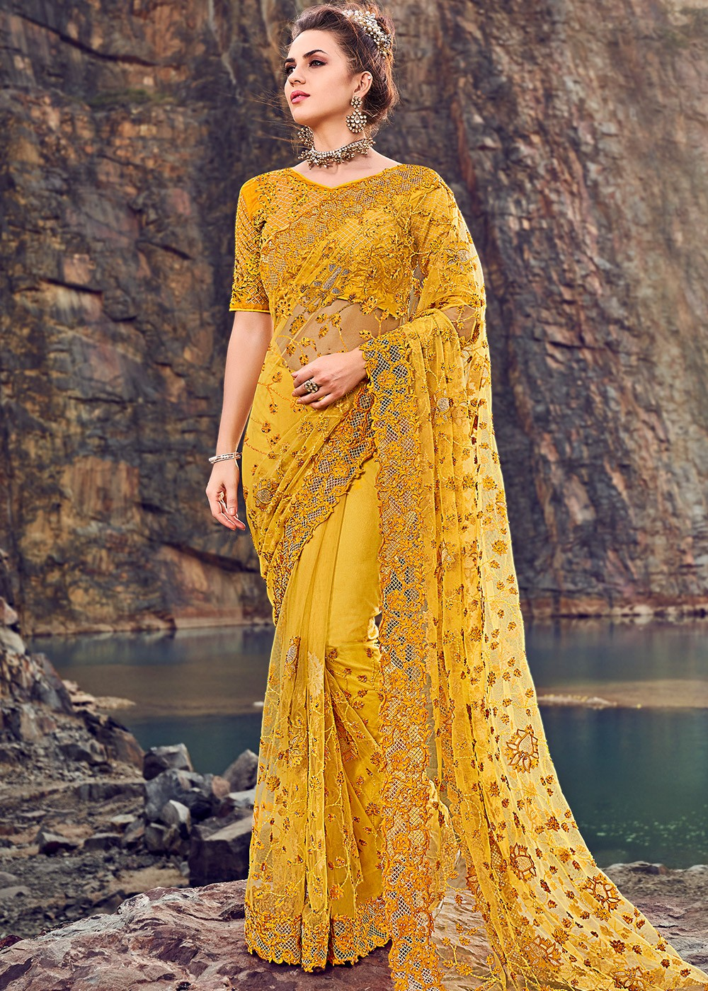 Details about  /Yellow Net Saree Sari Indian Bollywood Pakistani Wedding Embroidery Party Wear
