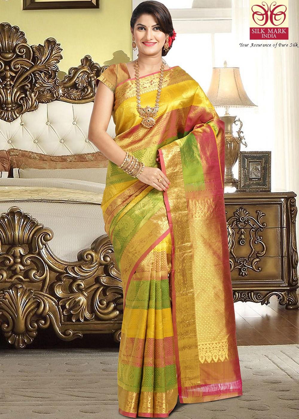 Multicolor Woven Kanchipuram Soft Silk Sarees 2590SR12