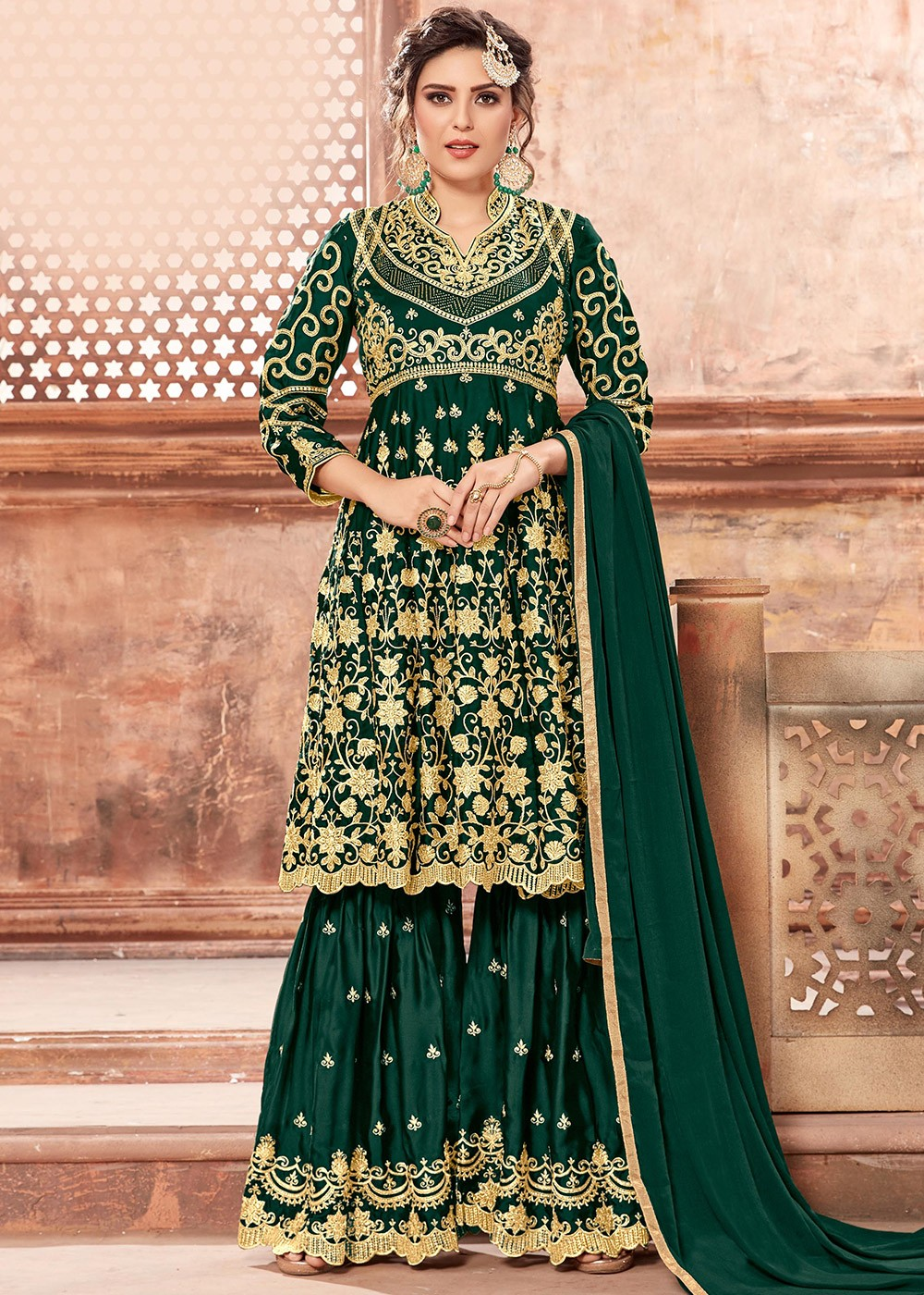a3fcafbb96 Green Heavy Embroidered Pakistani Sharara Suit. Tap to expand