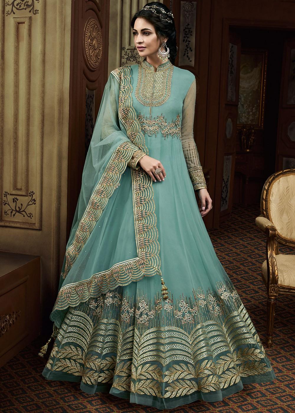 Light Blue Embroidered Pakistani Abaya Suit