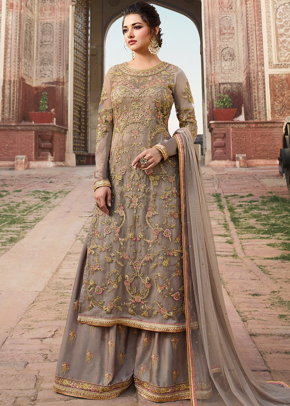fd5e675989 Grey Embroidered Pakistani Palazzo Suits Online USA ...