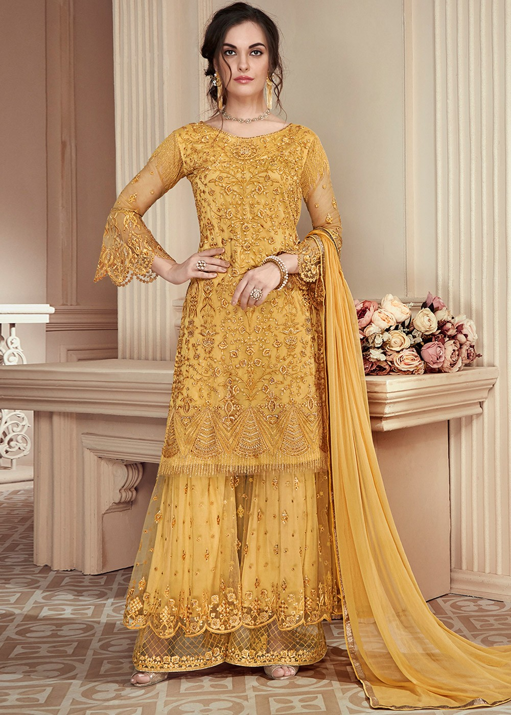 1ac4abb7207e Yellow Embroidered Pakistani Sharara Suit. Tap to expand