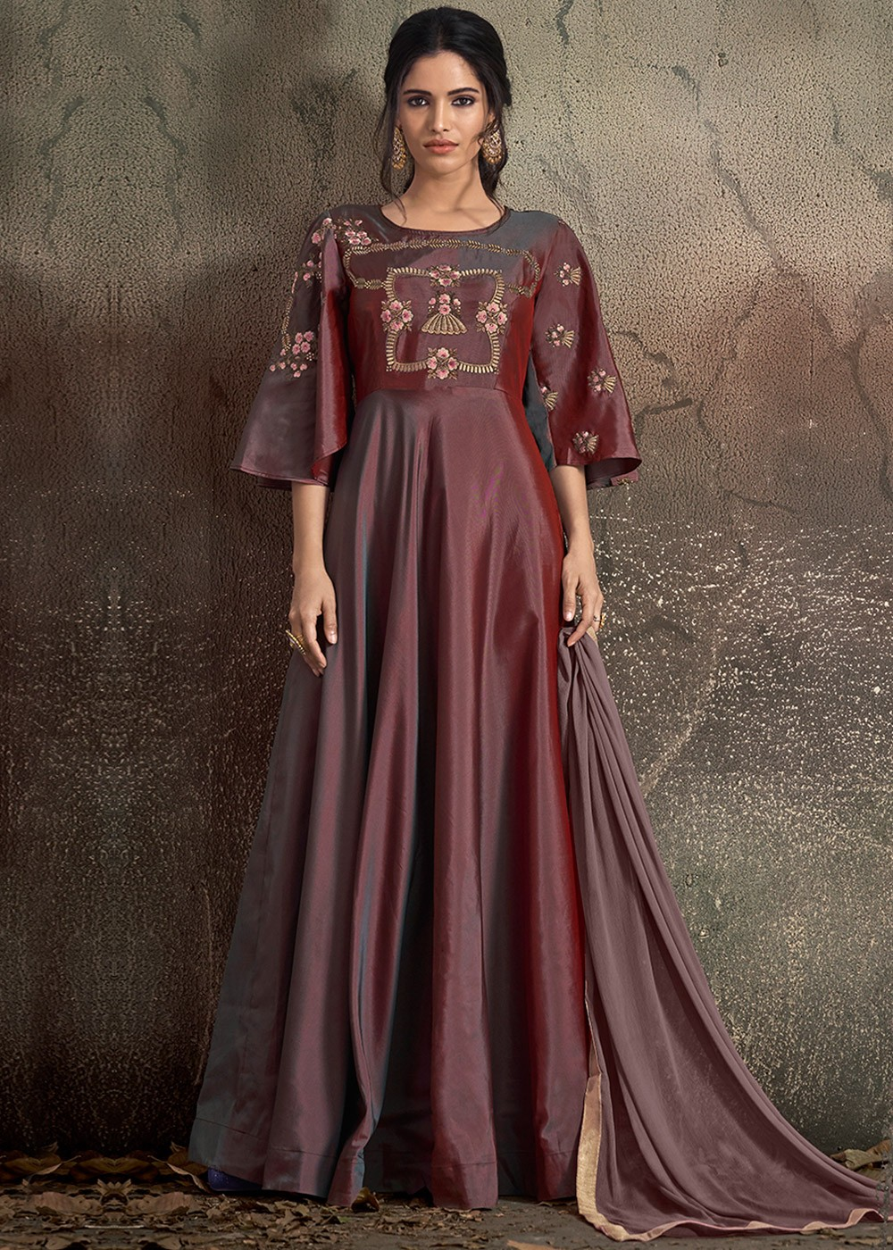2858cc59f4 Shaded Brown Readymade Gown Style Salwar Kameez 2685SL05
