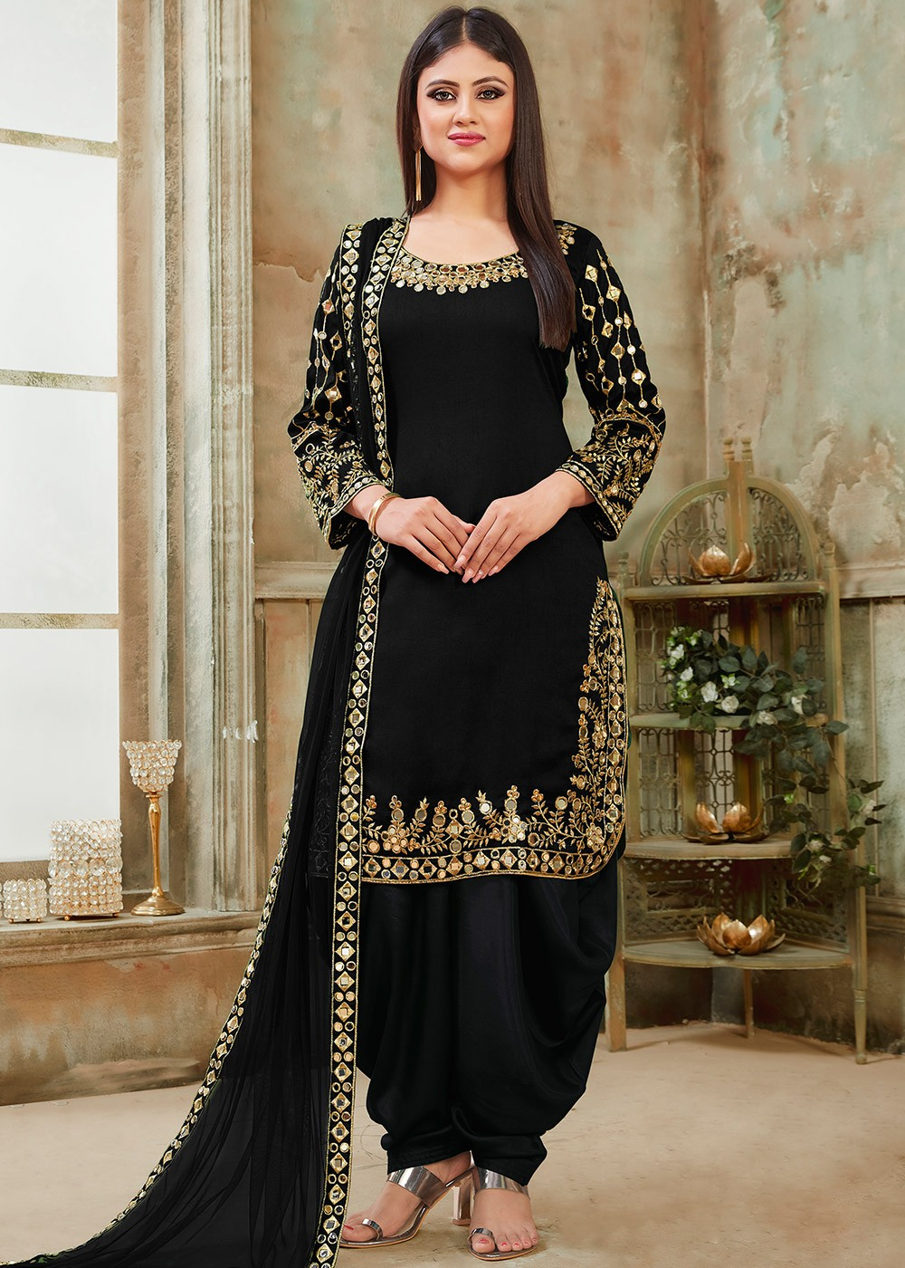 Black Art Silk Mirror Work Punjabi Suit Latest 2818sl01