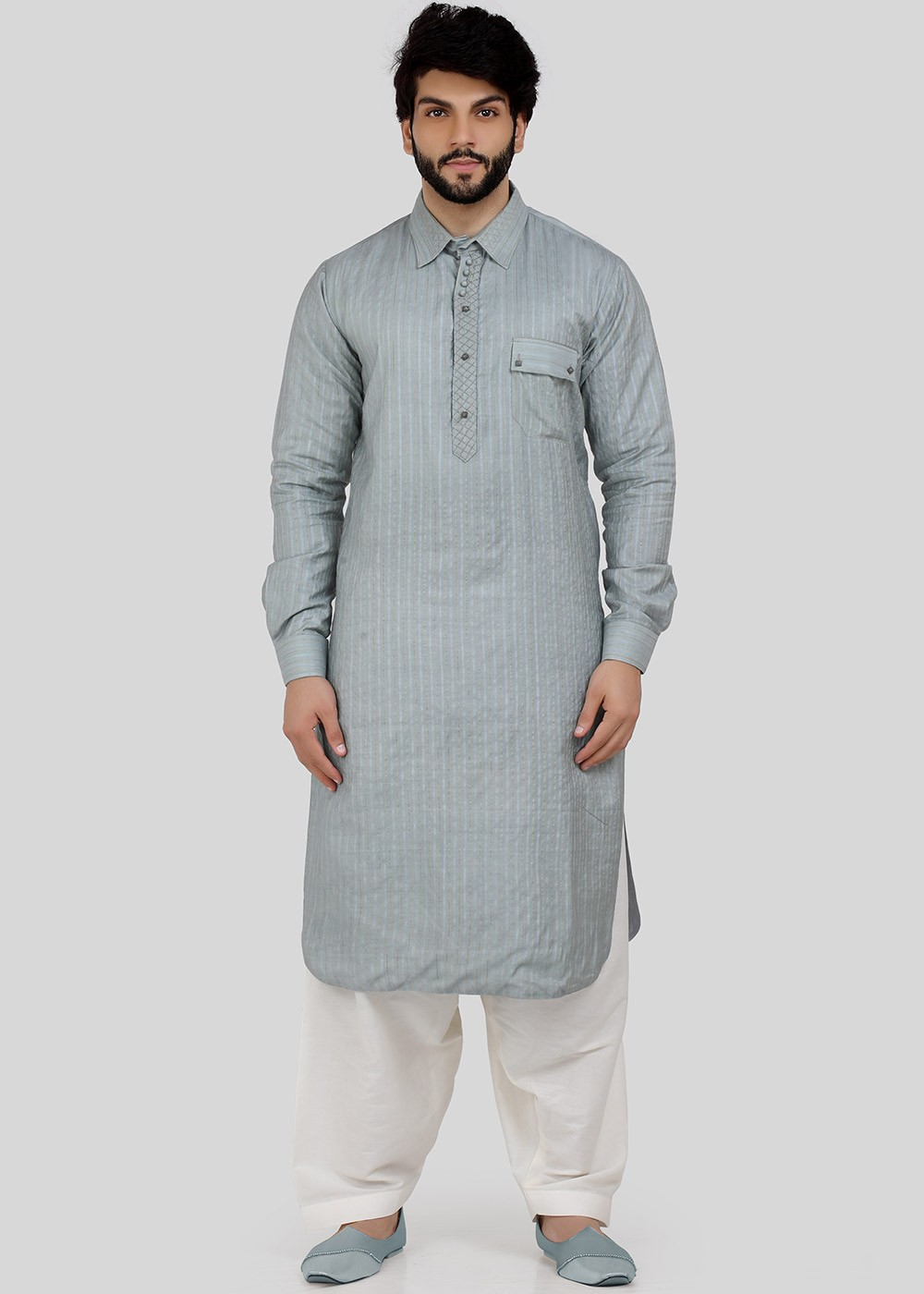 Readymade Grey Linen Pathani Suit For Men