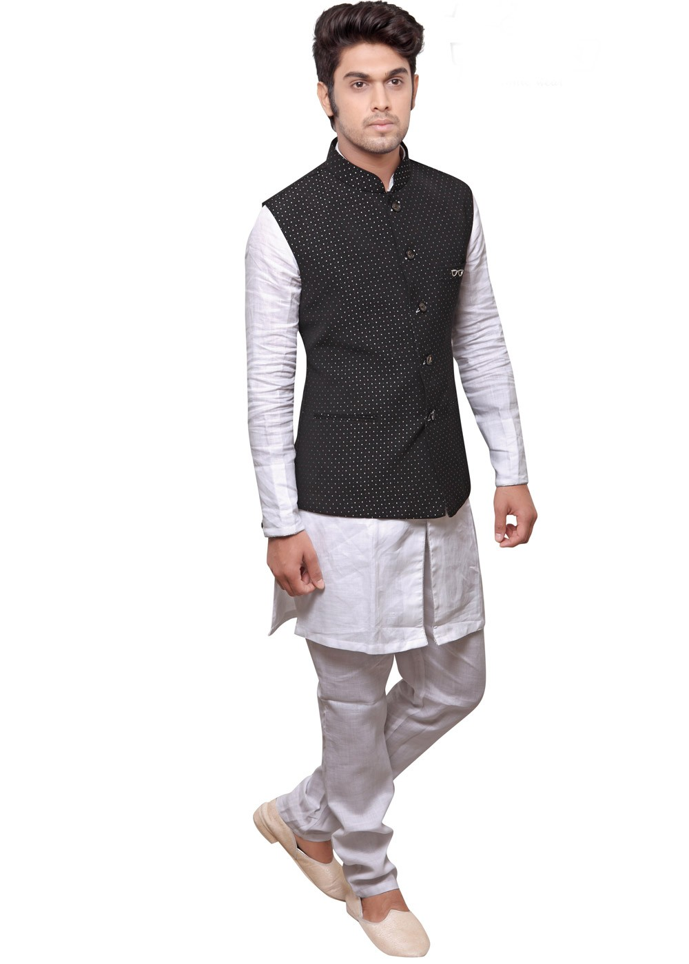 4ba7146309 White Kurta Pajama & Black Nehru Jacket Men 175MW13
