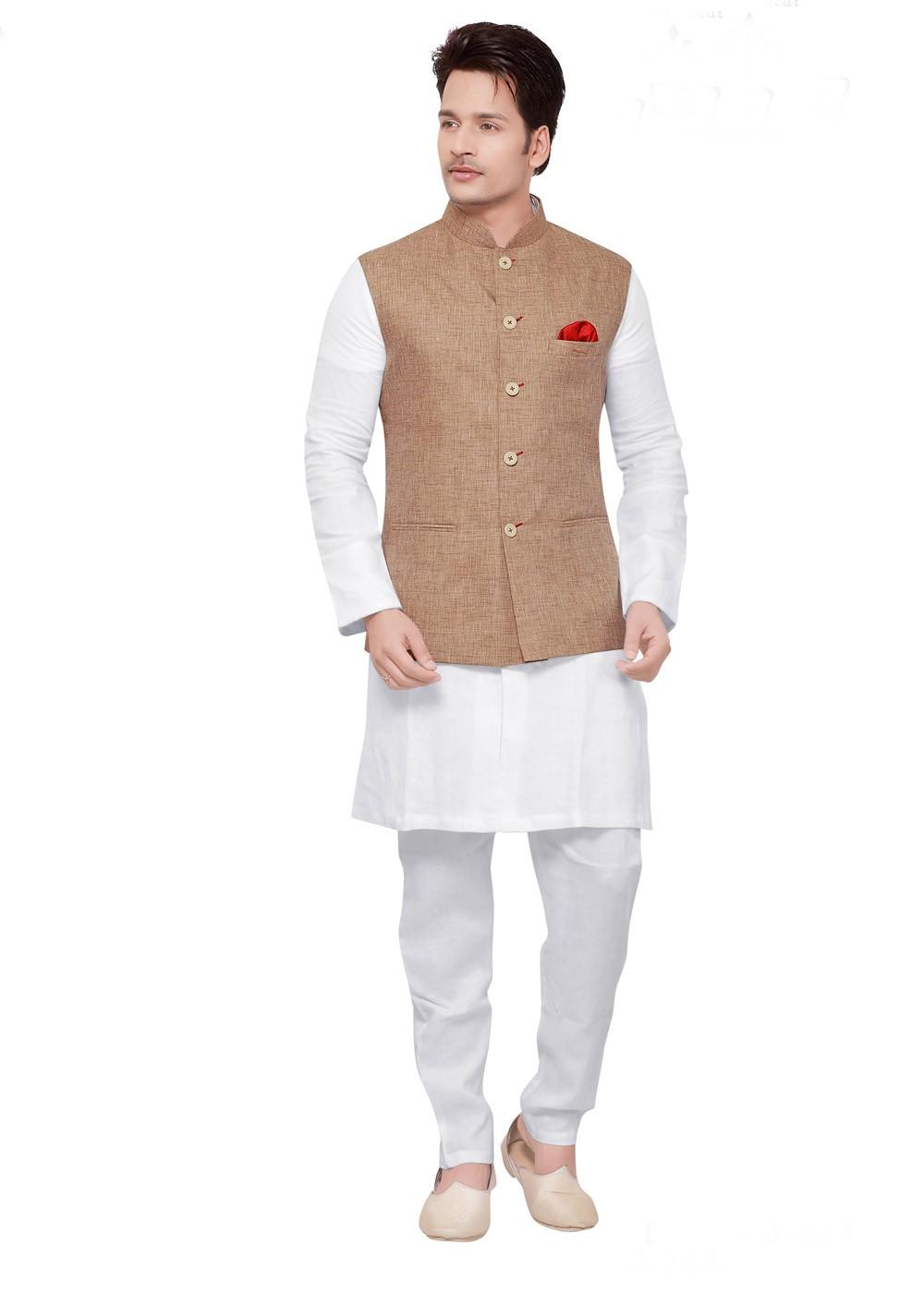 White Kurta Pajama With Beige Nehru Jacket Men 176mw05