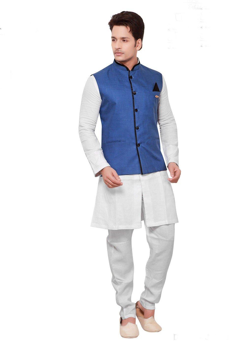 White Kurta Pajama With Blue Nehru Jacket Men 176mw09