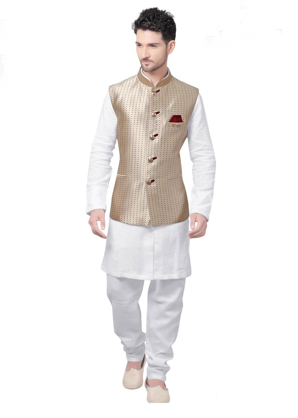 47d78a52c White Kurta Pajama With Golden Nehru Jacket