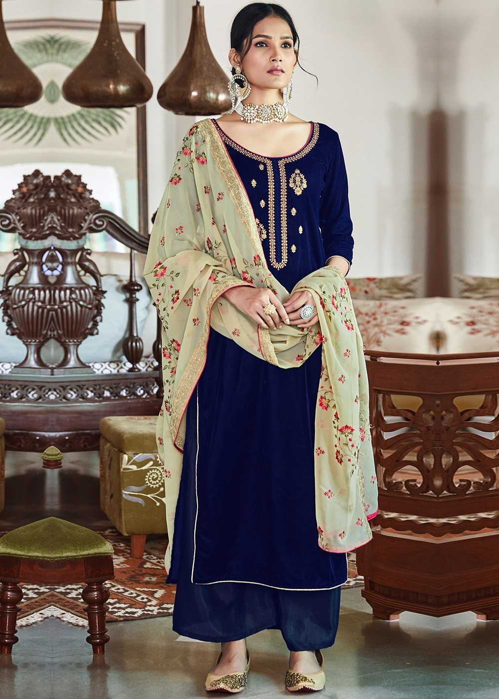 Navy Blue Velvet Embroidered Palazzo Suit With Dupatta 3398sl01