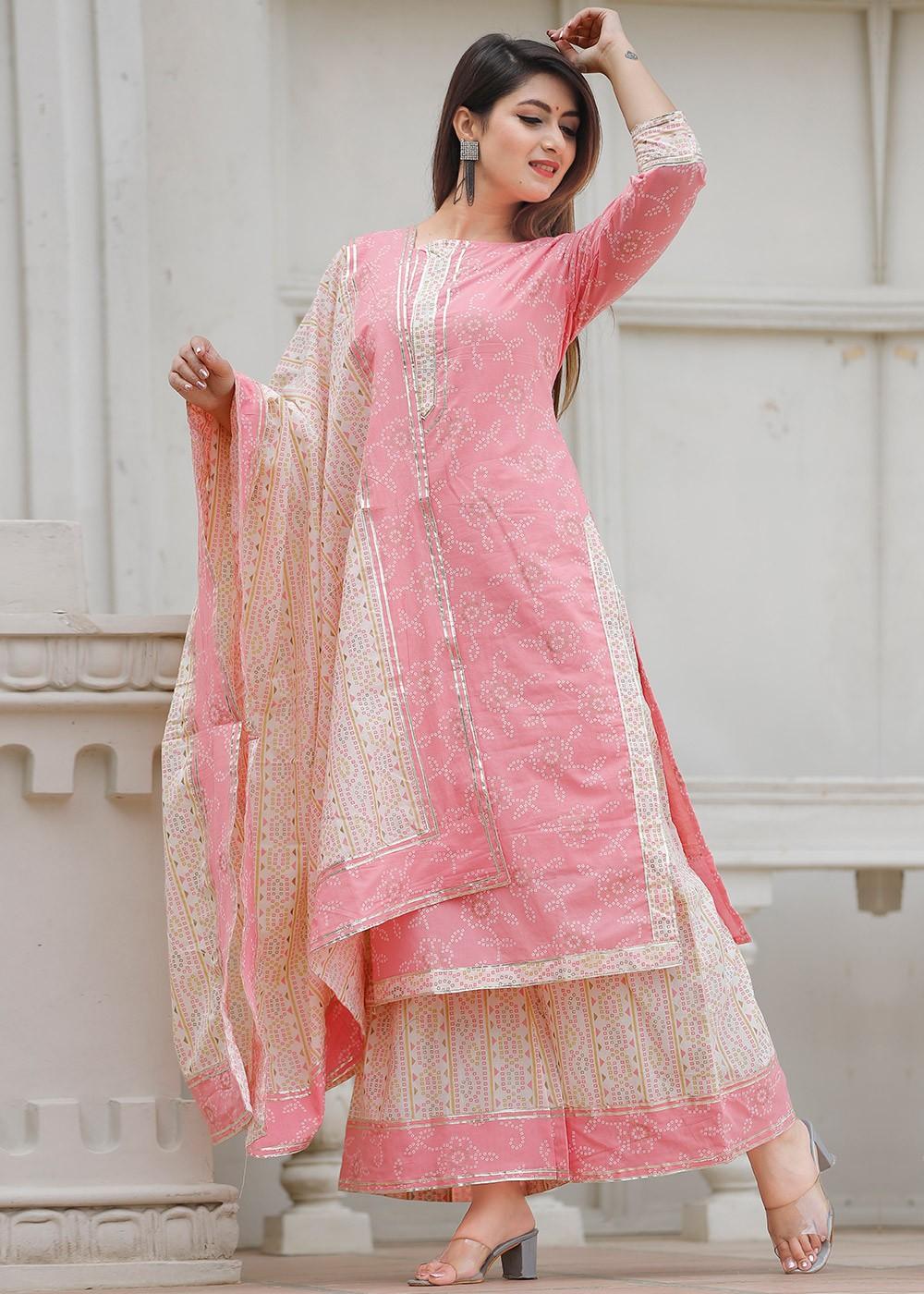Peach Bandhej Printed Readymade Cotton Palazzo Suit Latest 3436SL07