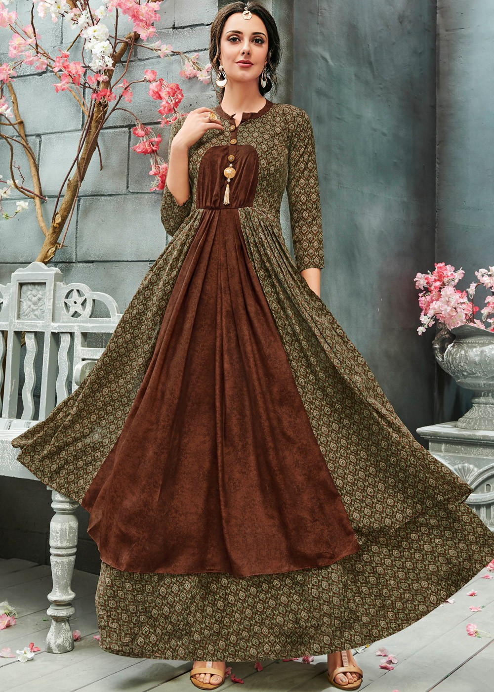 a8b370089375 Buy Olive Green Readymade Printed Indo Western Dress Online in USA ...