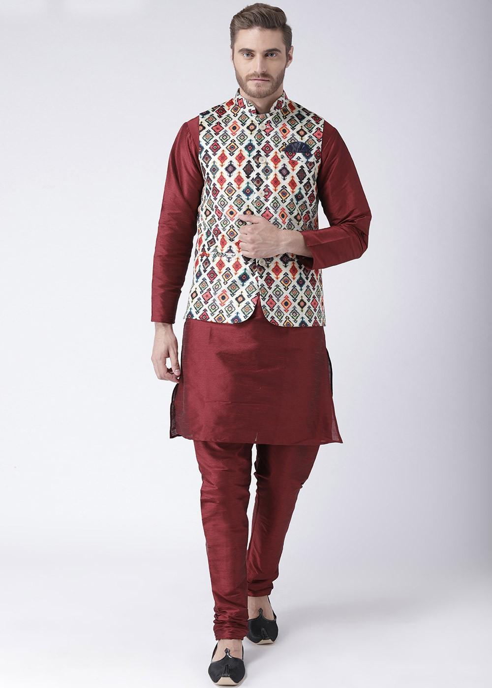 PCC Mens Kurta Pajama Wedding Art Dupion Marron India Party Wear Set Of 3