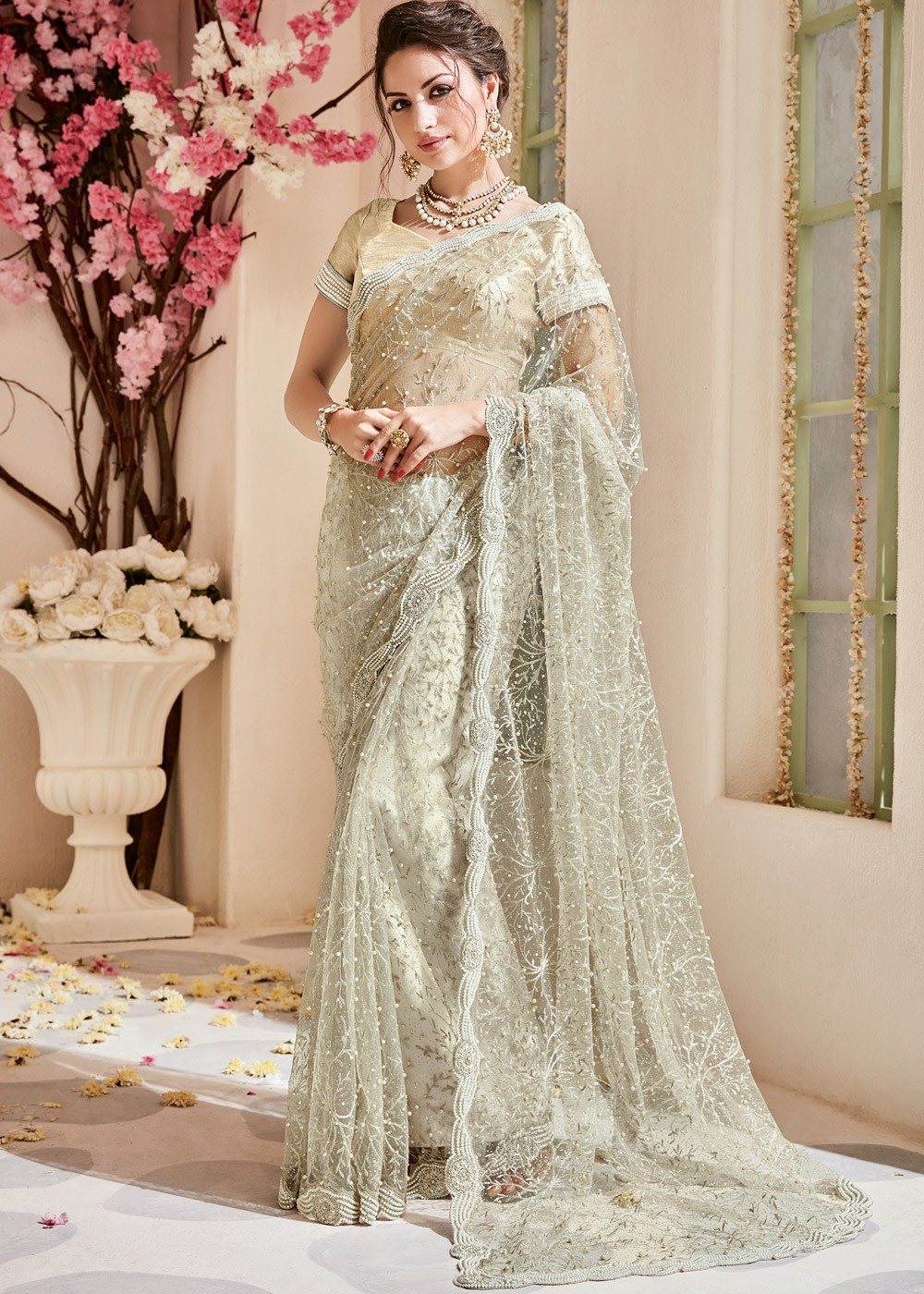 Off White Embroidered Net Saree With Blouse Valentine Edit