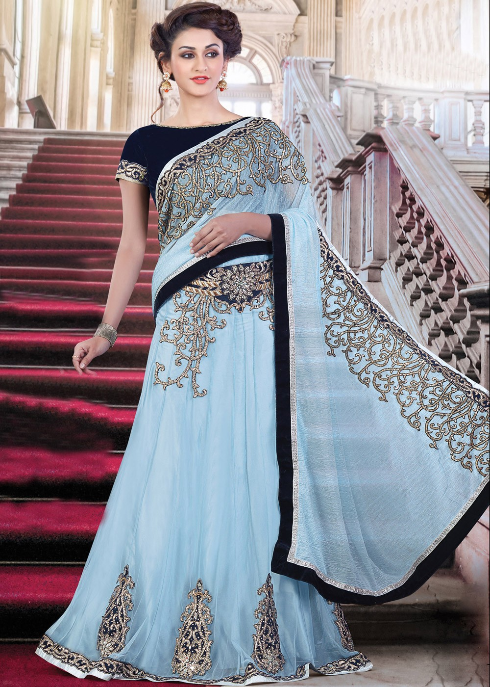 Blue Net And Georgette Lehenga Saree 1342sr16