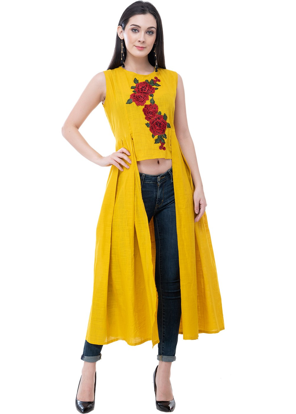 Yellow Readymade Frock Style Cotton
