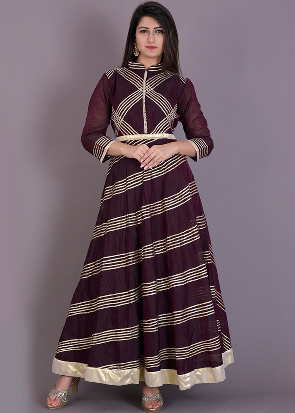Brown Chanderi Indo Western Dress