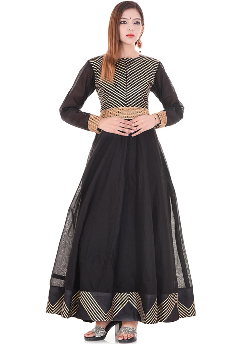 Black Chanderi Flared Indo Western Dress