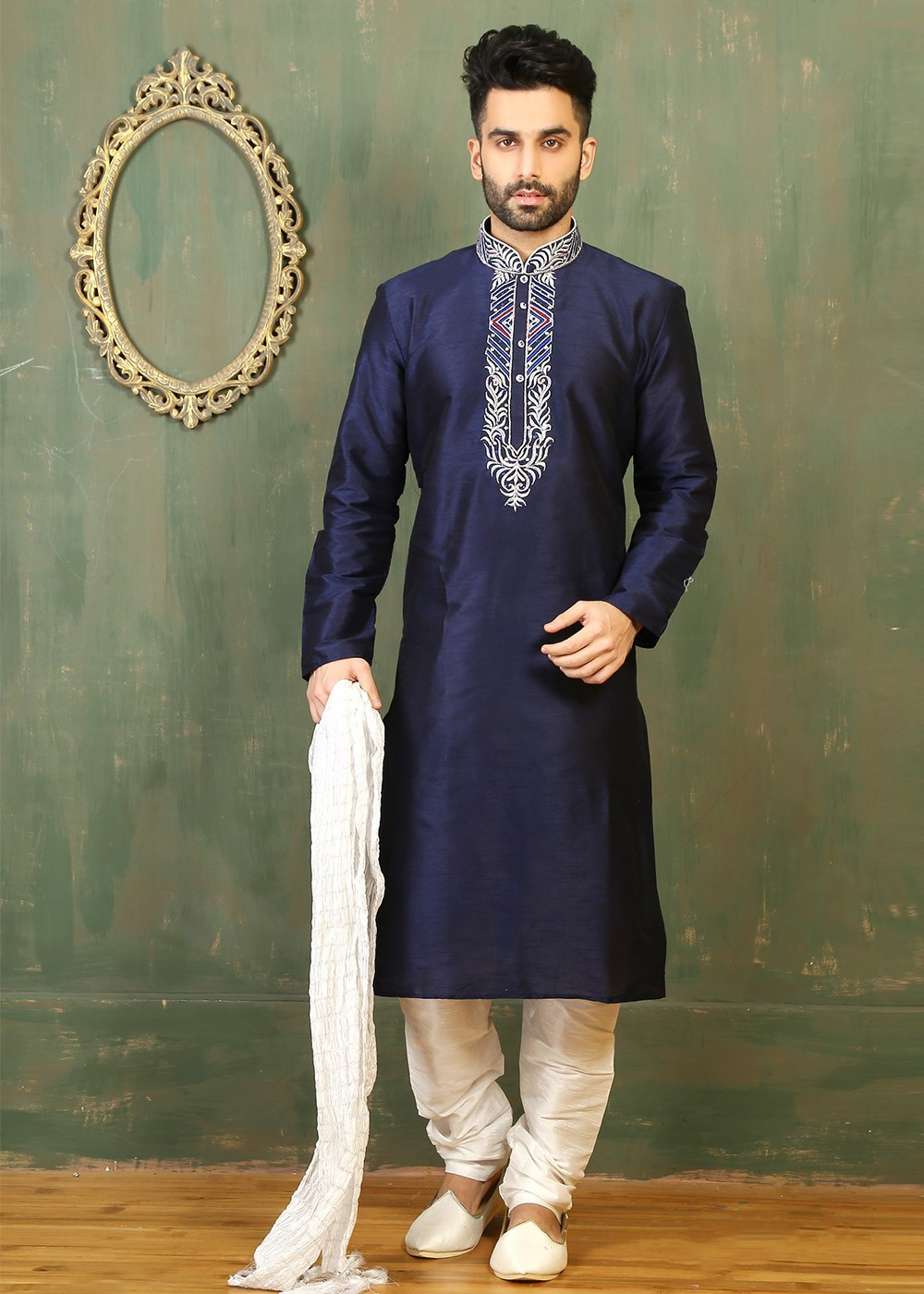 USA Blue Men Kurta Pajama Set Wedding Party Wear