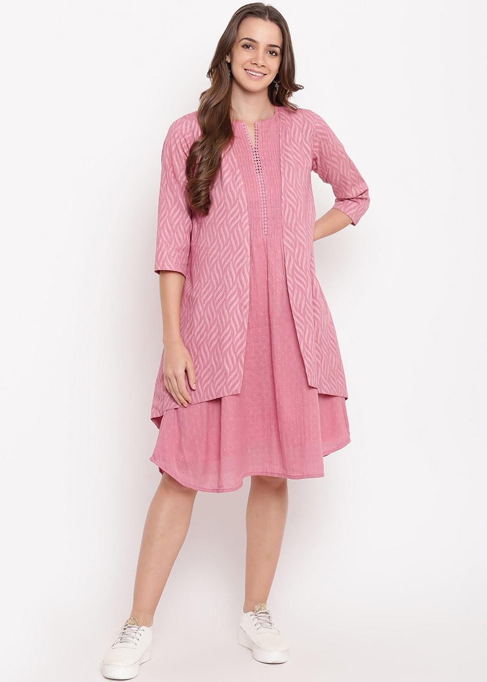Pink Dobby Indo Western Dress With