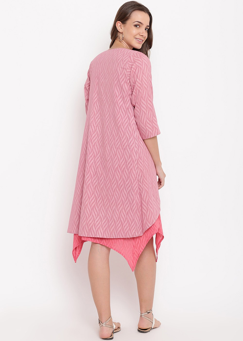 7d650c556cfa Coral Pink Dobby Indo Western Dress With Jacket 441KR15