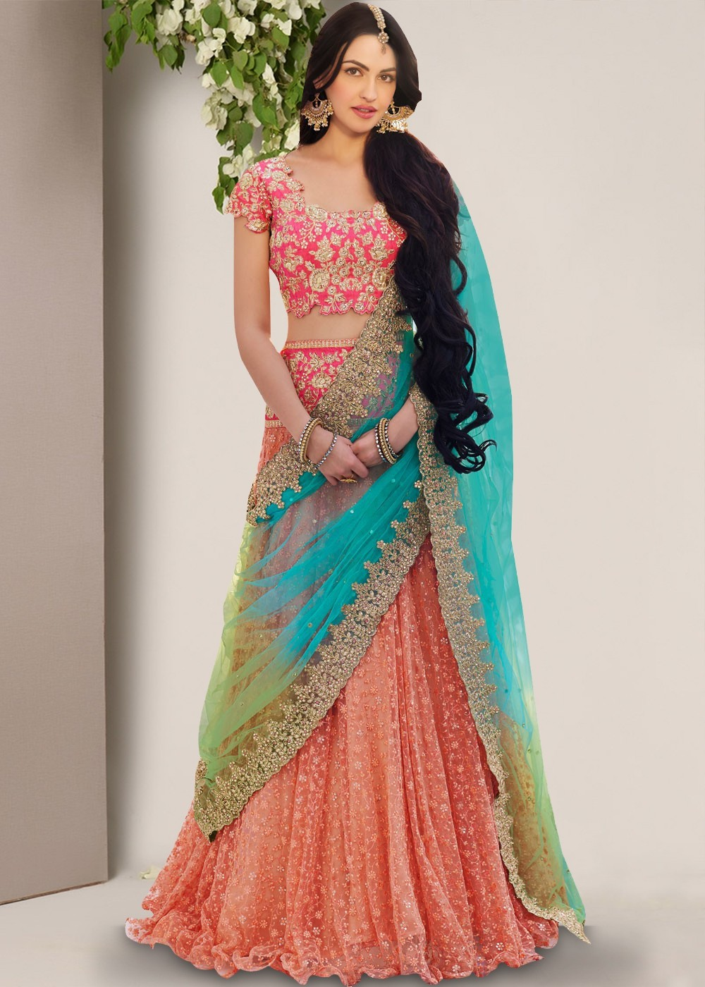 a82016cbdb Peach Frilled Edge Net Lehenga Choli Most Loved Styles 1404LG12