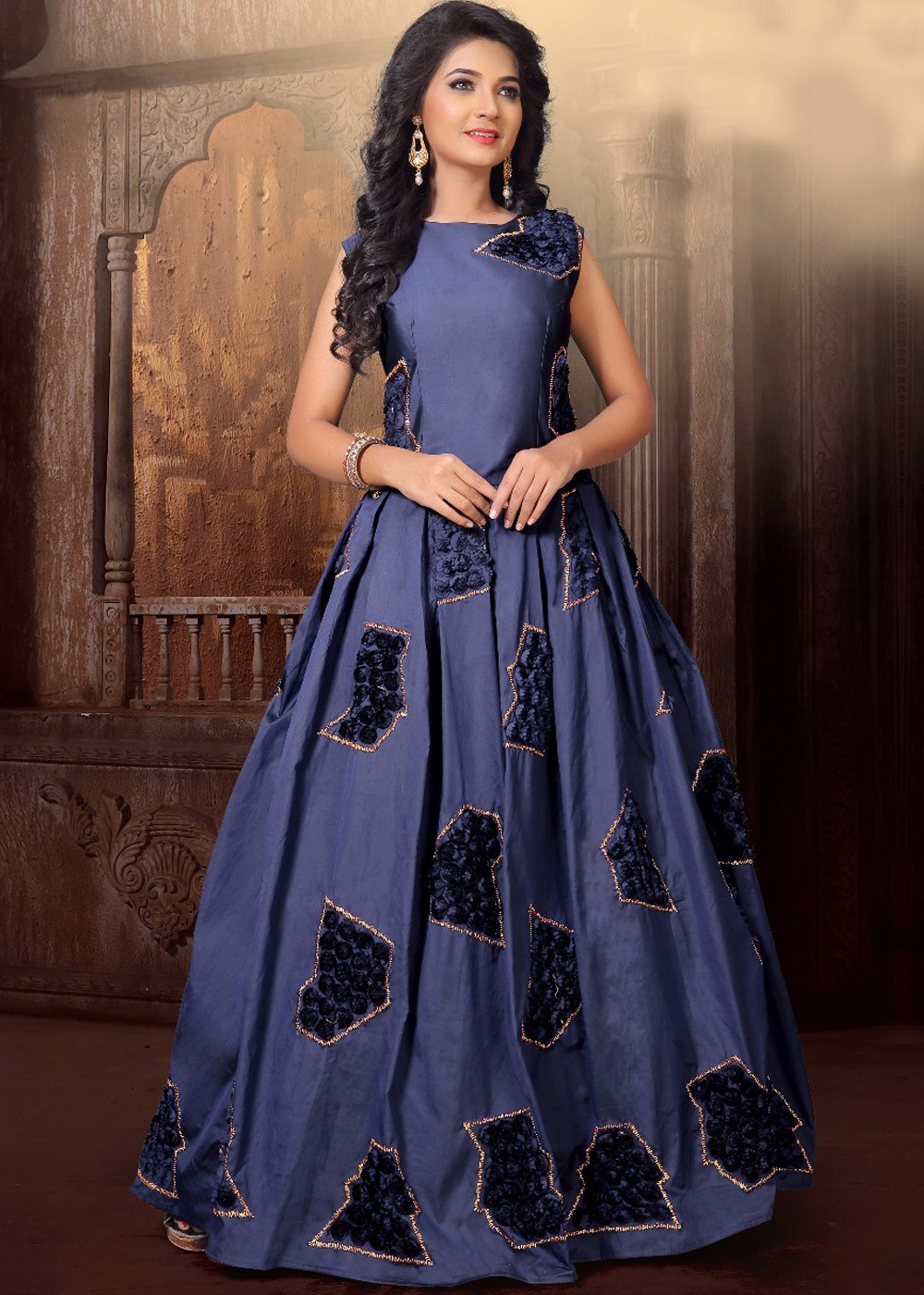 Readymade Steel Blue Sleeveless Indo Western Gown Indo Western 143GW03