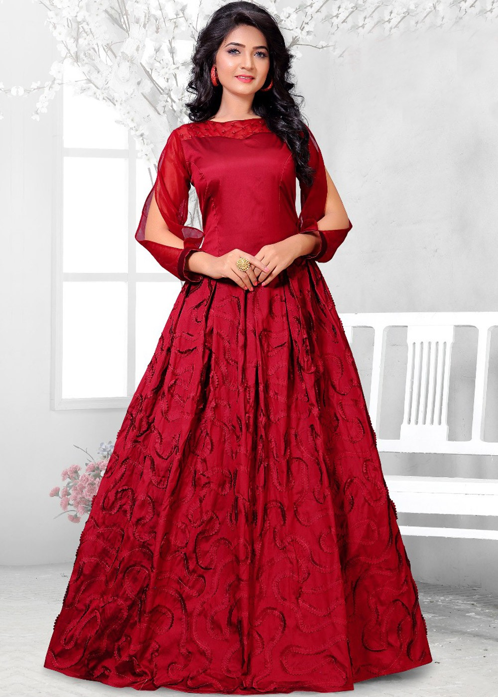 8eda1d83059d Indo Western Dresses  Buy Readymade Maroon Art Silk Long Indian Gowns Online  ...