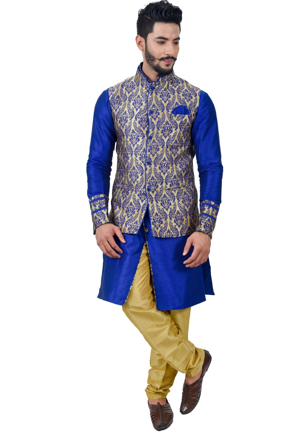Readymade Royal Blue Art Silk Kurta Pyjama With Nehru