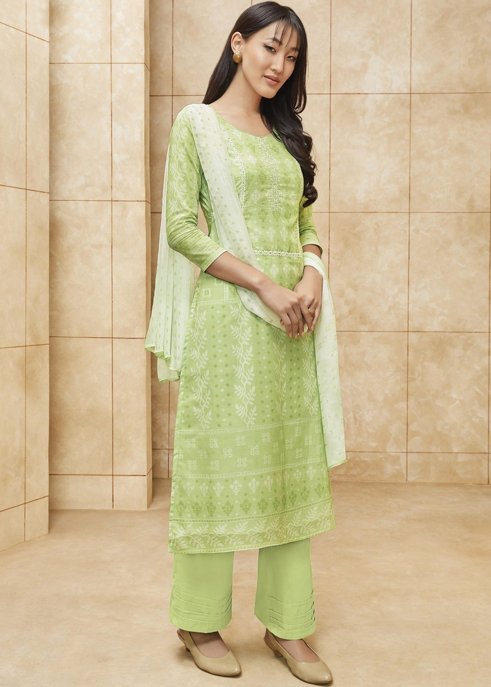 Light Green Cotton Flared Pant Suit With Dupatta 2207sl04,Mint Green Combination Color