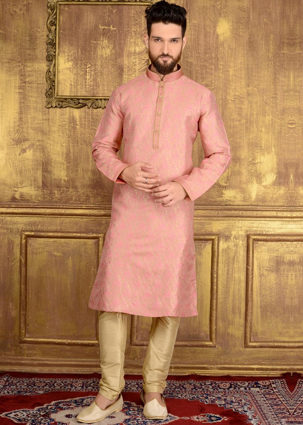 pretty nice 8a0fb c55a3 Readymade Light Pink Brocade Kurta Pyjama