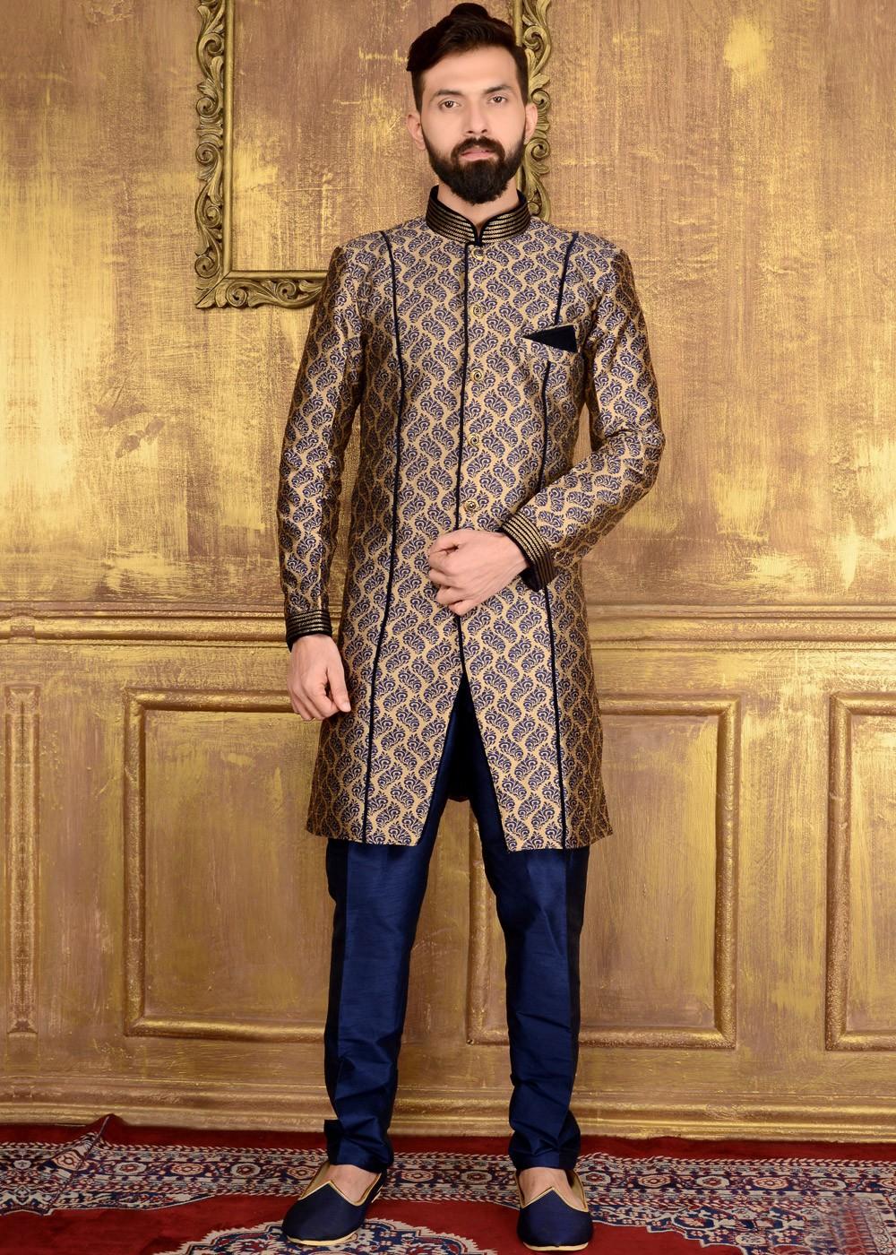 Readymade Gold Amp Blue Brocade Indo Western Sherwani Men