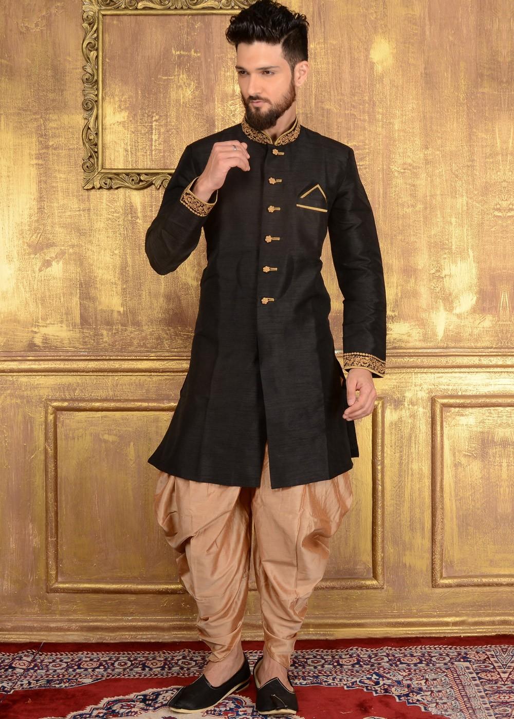 Readymade Black Art Silk Indo Western Sherwani 135mw59