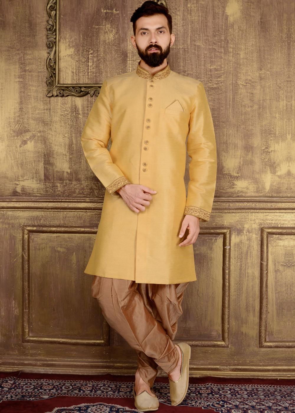 Traditional Indian Men Eid Designer Ethnic Silk Party Wear Silk Wedding Sherwani