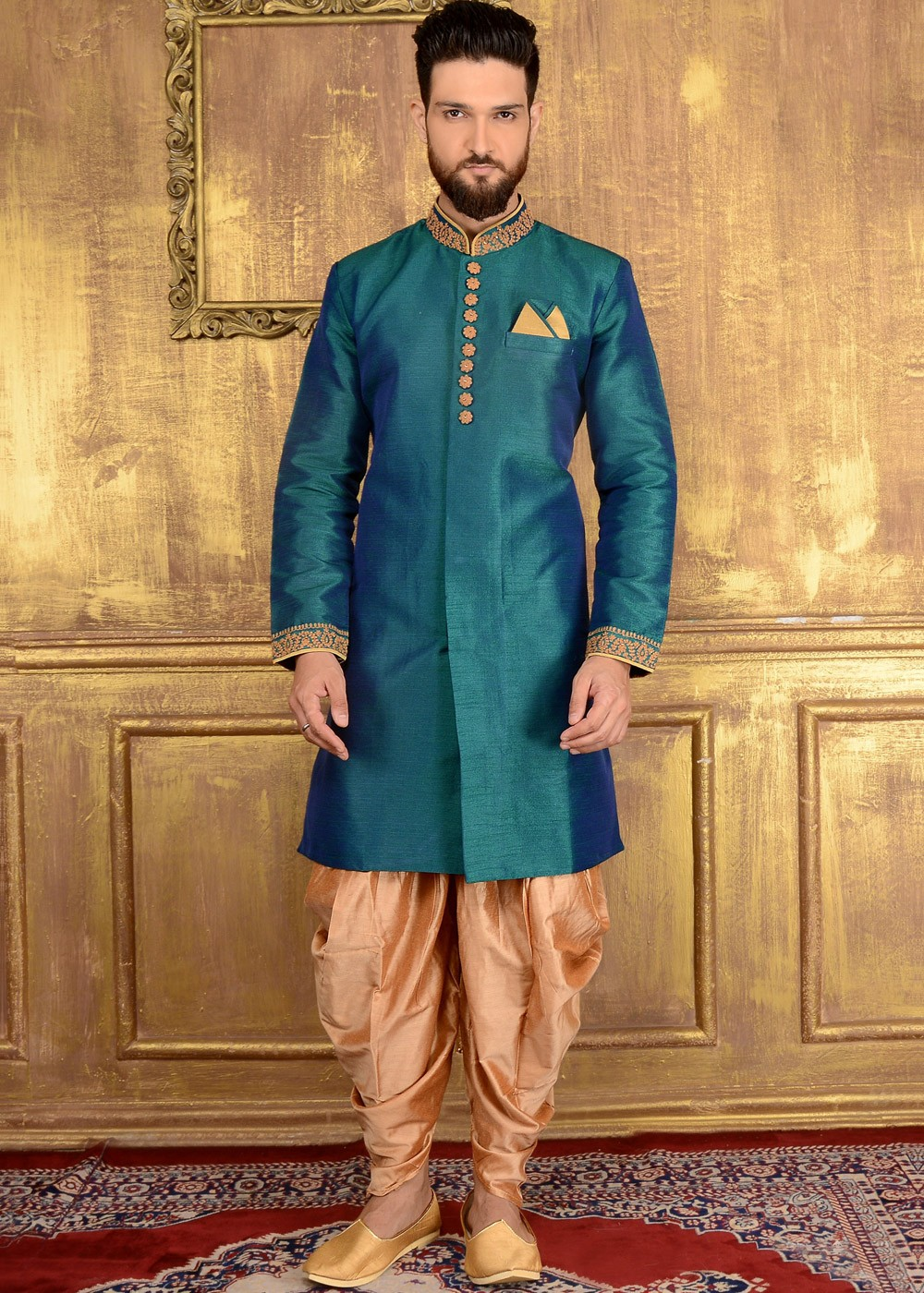 535aab1ab655 Indian Wedding Clothes for Men: Buy Teal Blue Art Silk Mens Wedding  Sherwani Online in Readymade ...