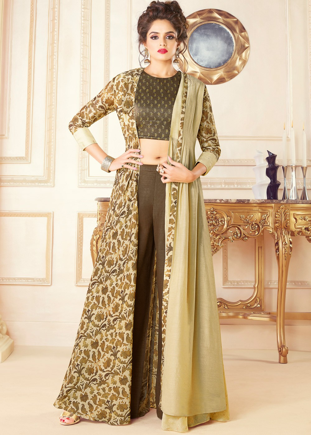 646293e0a58 Brown Art Silk Top Palazzo Set With Jacket. Indo Western Dress  ...