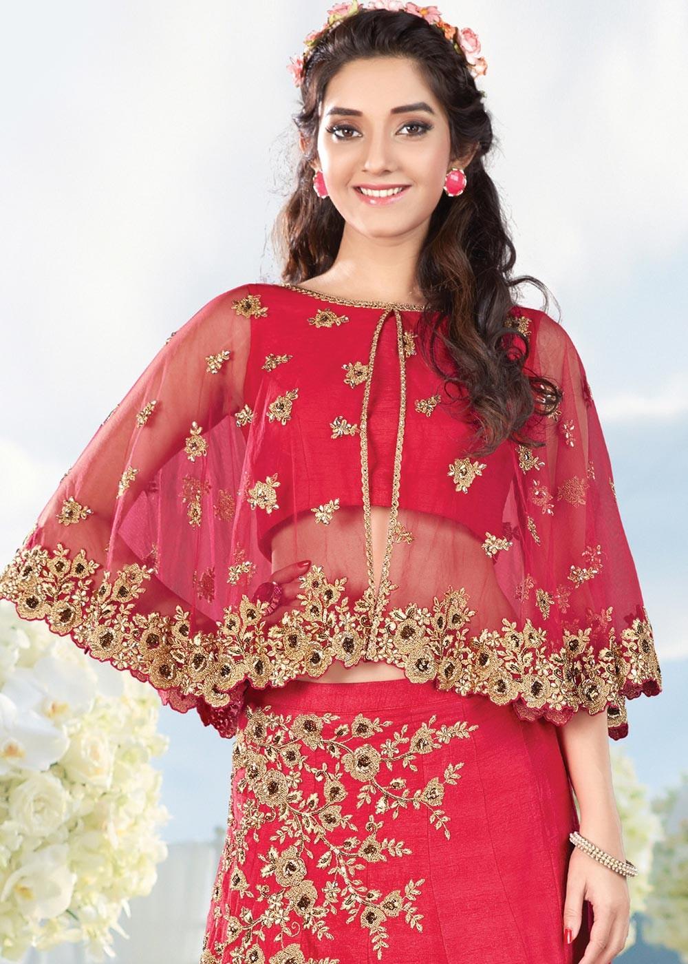 Pink Cape Style Silk Lehenga 1370lg11