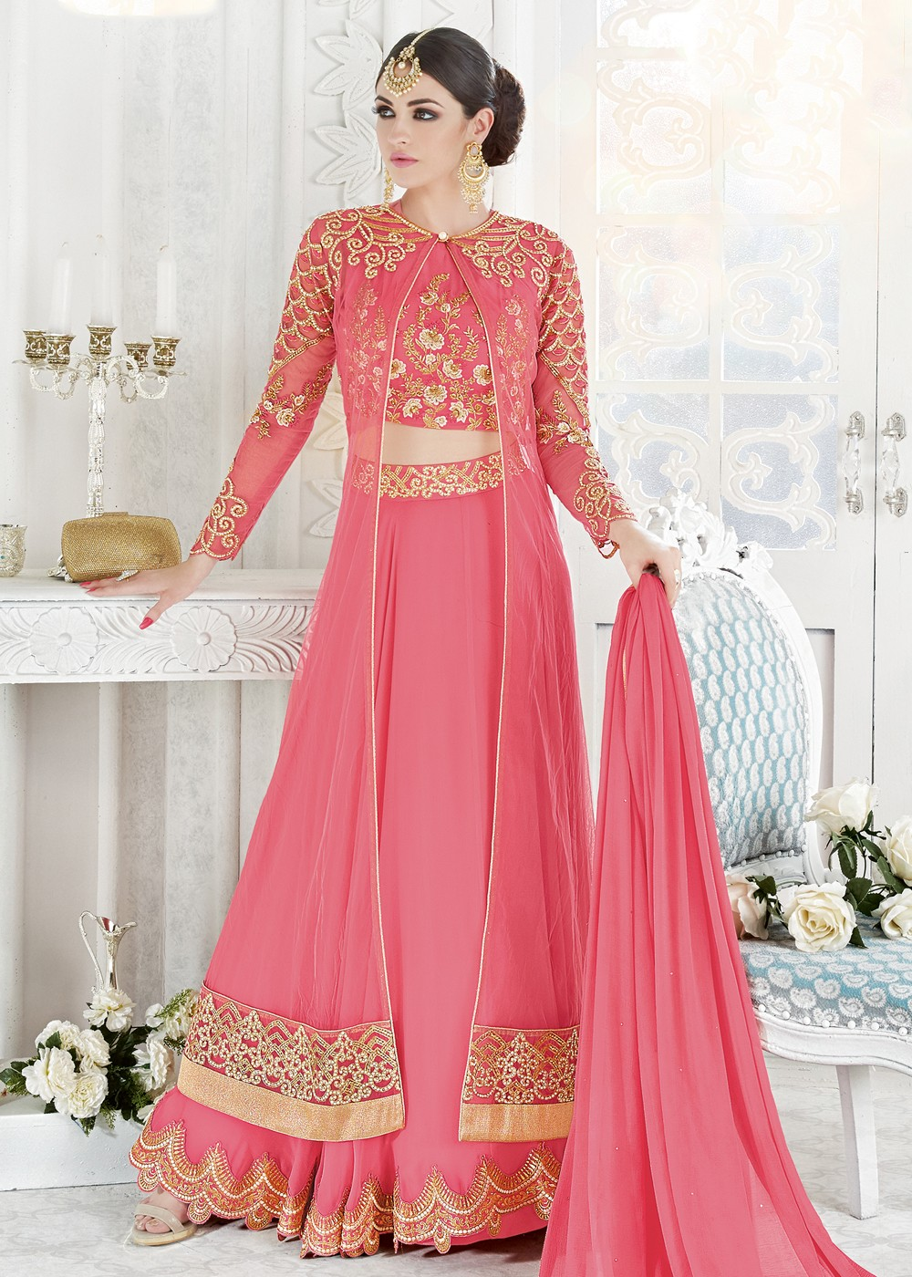 Pink Georgette Lehenga Choli With Long Jacket Fusion