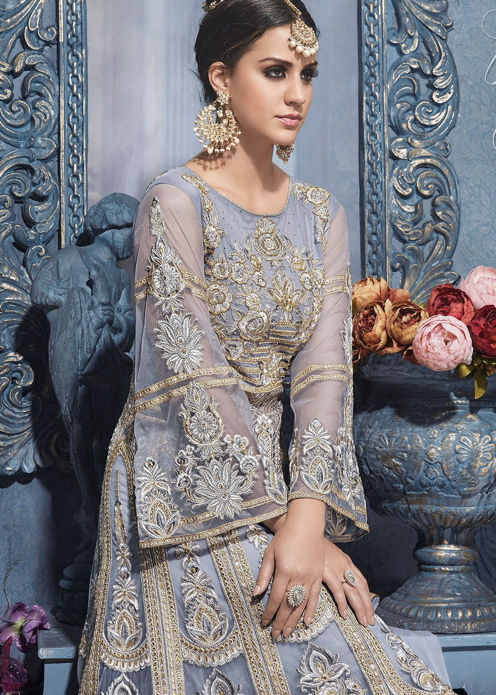e61af5abe5 Light Grey Sharara Suit With Dupatta Most Loved Styles 1447SL02