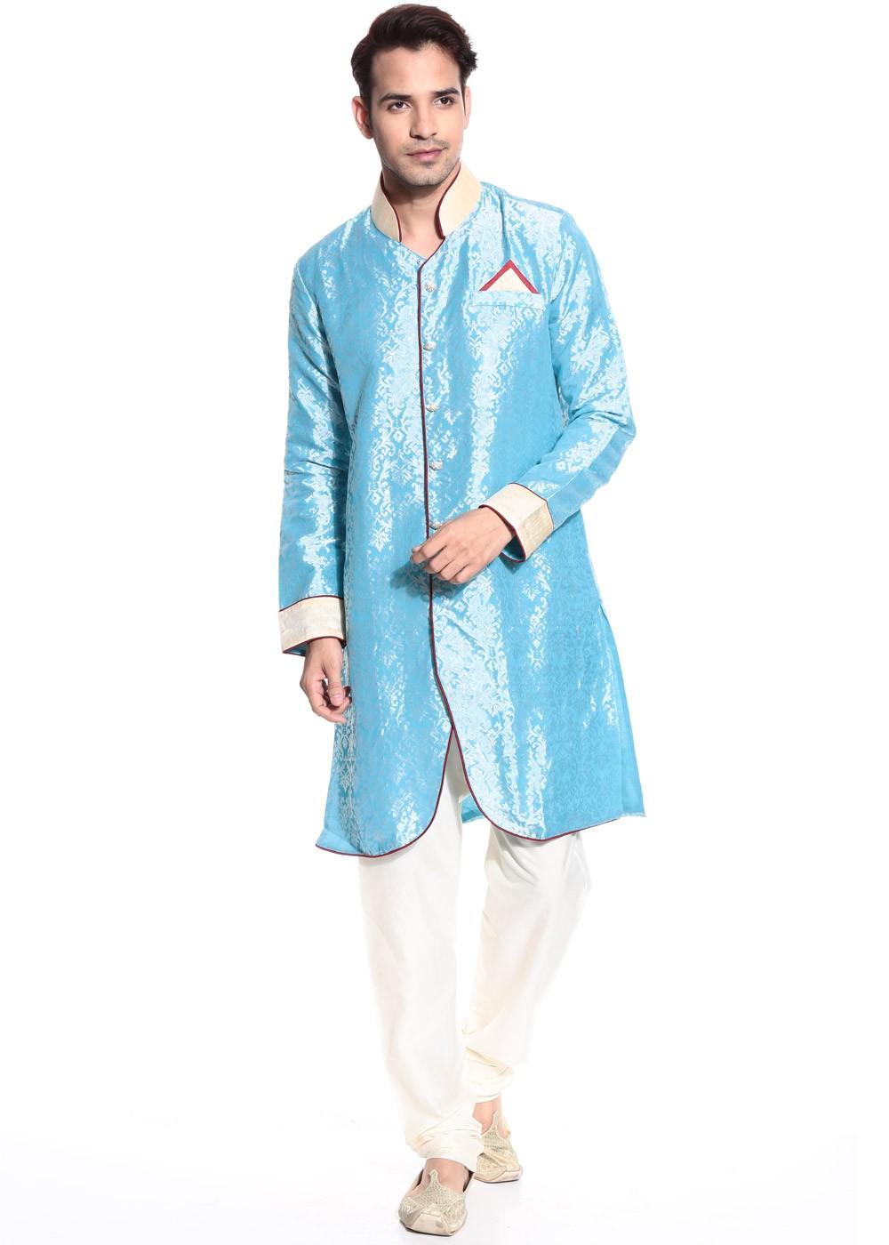 Readymade Sky Blue Brocade Indo Western Sherwani Men 143MW04