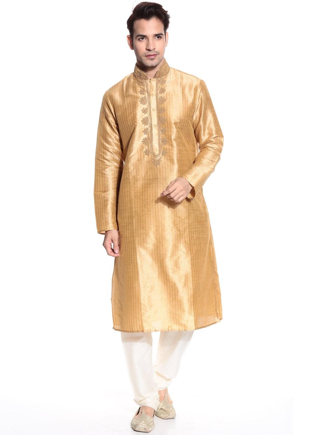 new concept 9e6a2 bc57a Readymade Gold Art Silk Kurta Pyjama Set