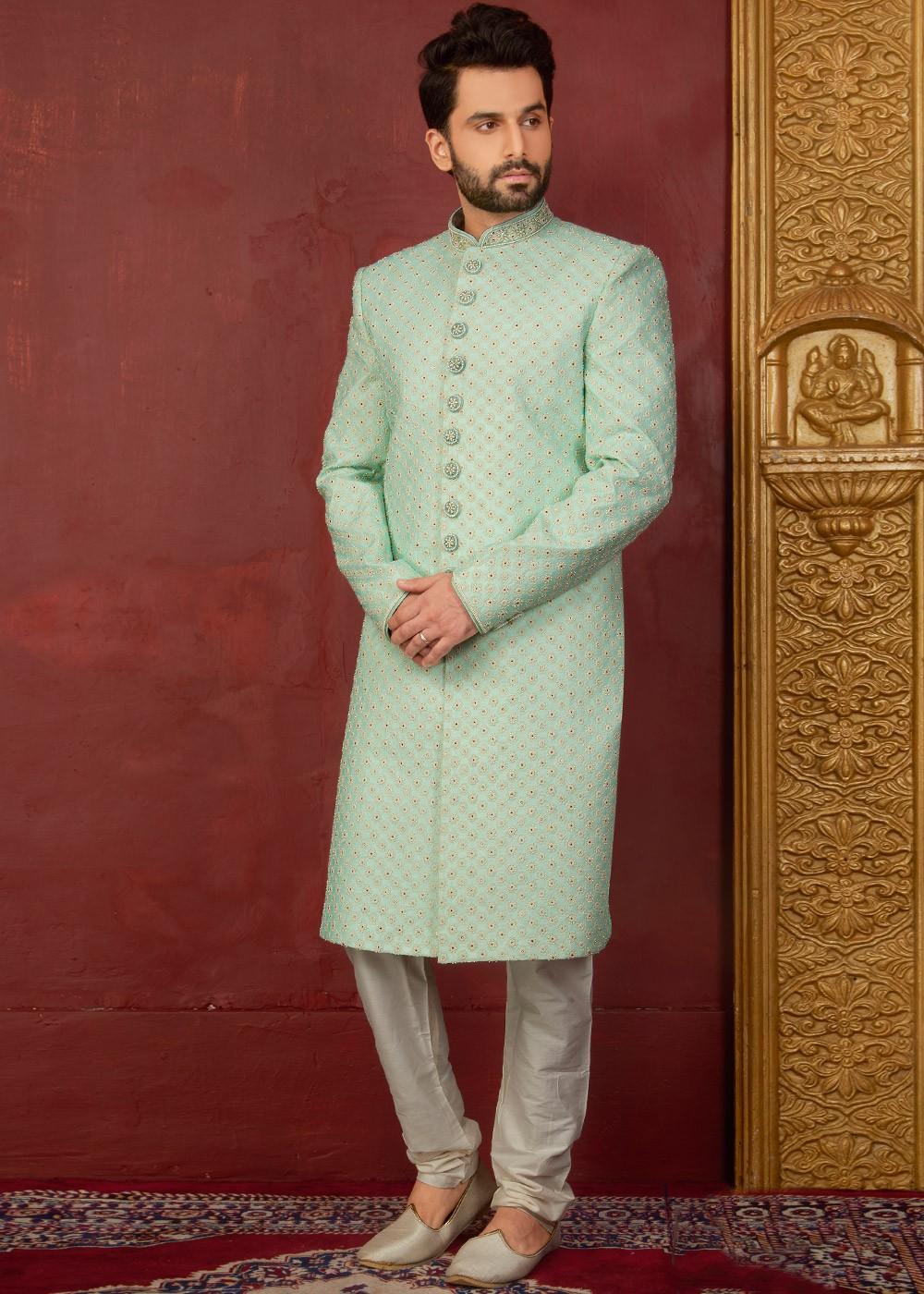 Pastel Green Embroidered Sherwani for Men Diwali Collection 197MW13