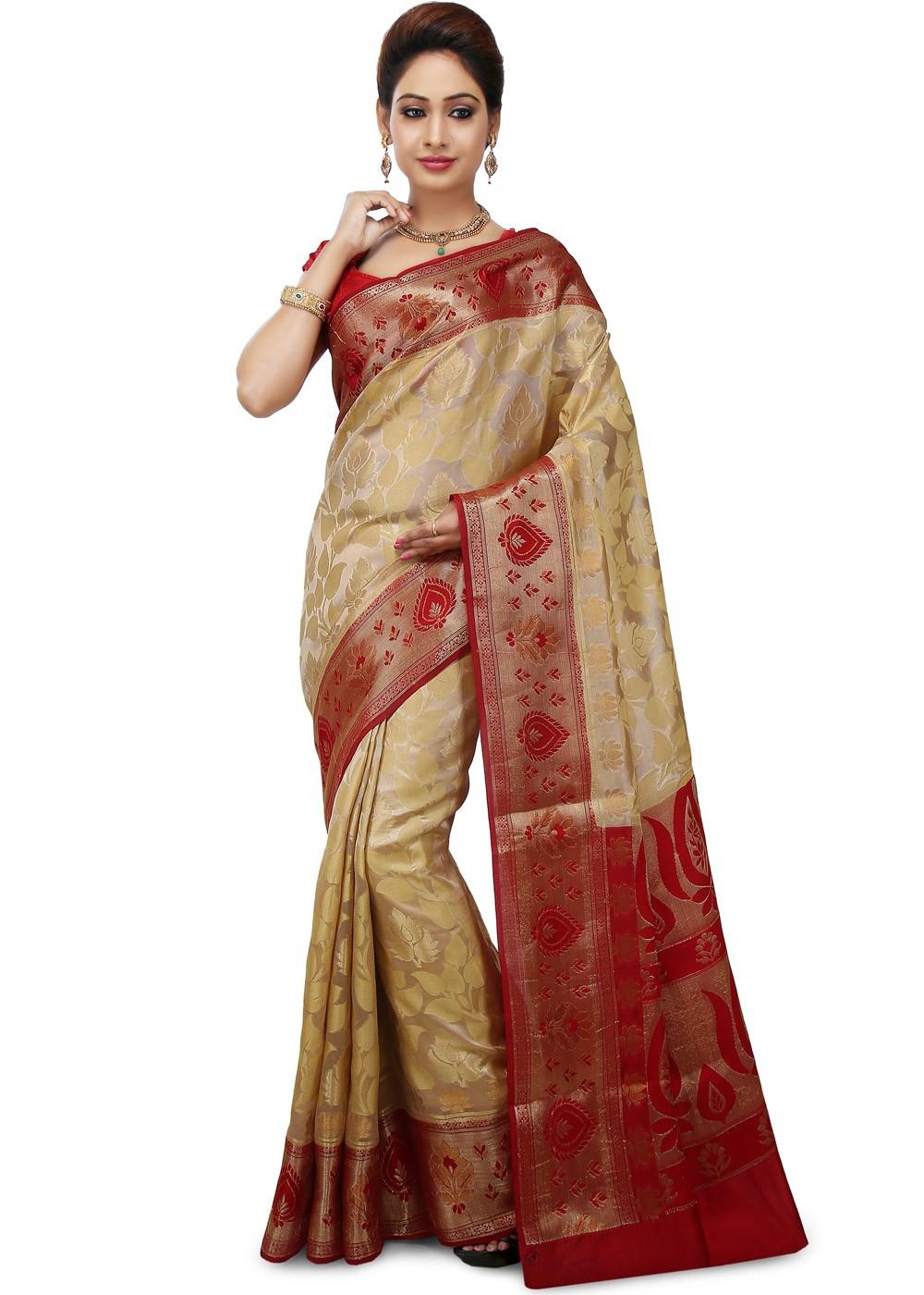 4513ca20ce Gold Woven Pure Silk Banarasi Sarees Online Shopping in USA ...