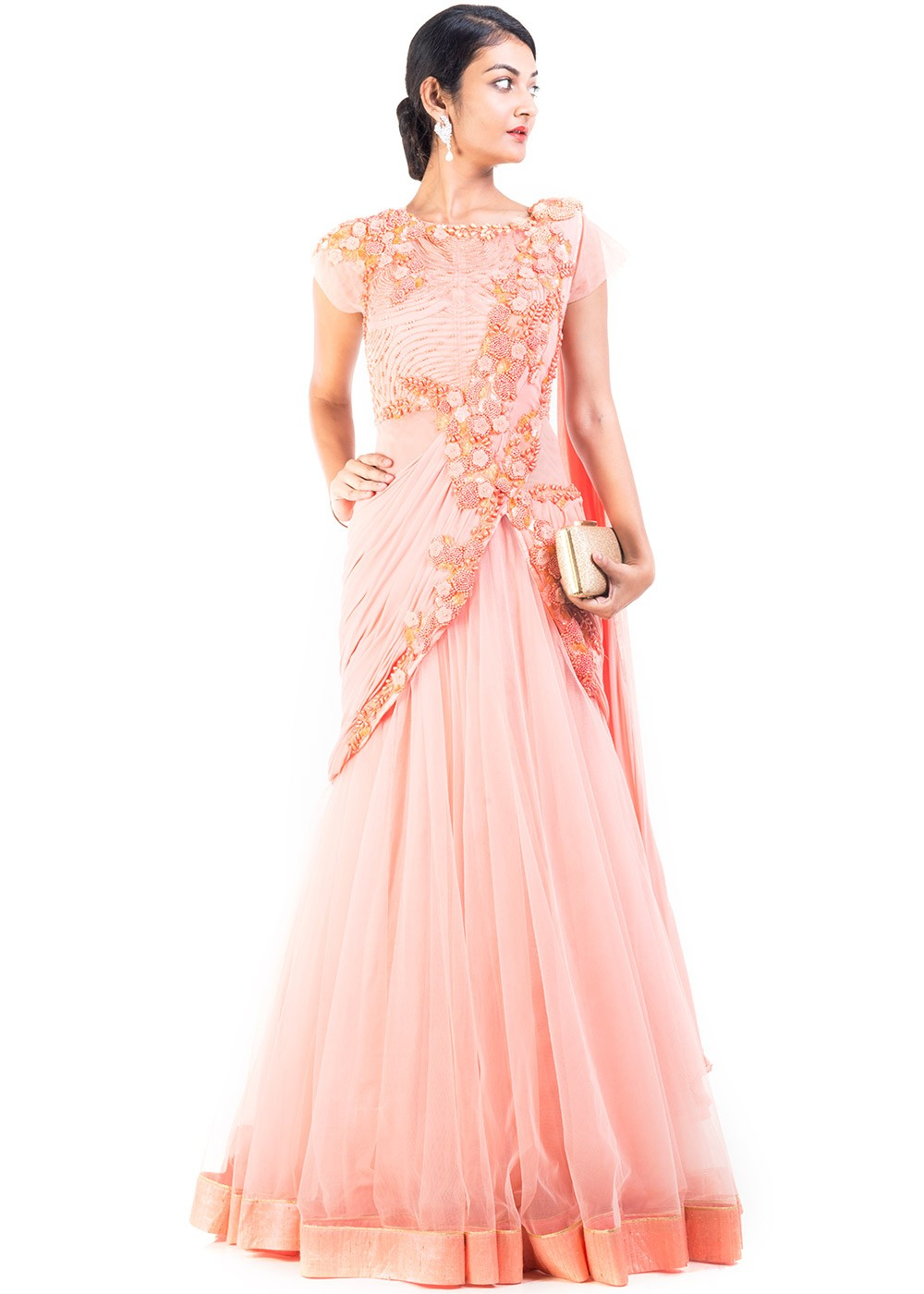 8cf81a436d Indian Gown: Buy Peach Net Saree Style Indo Western Gown Online ...