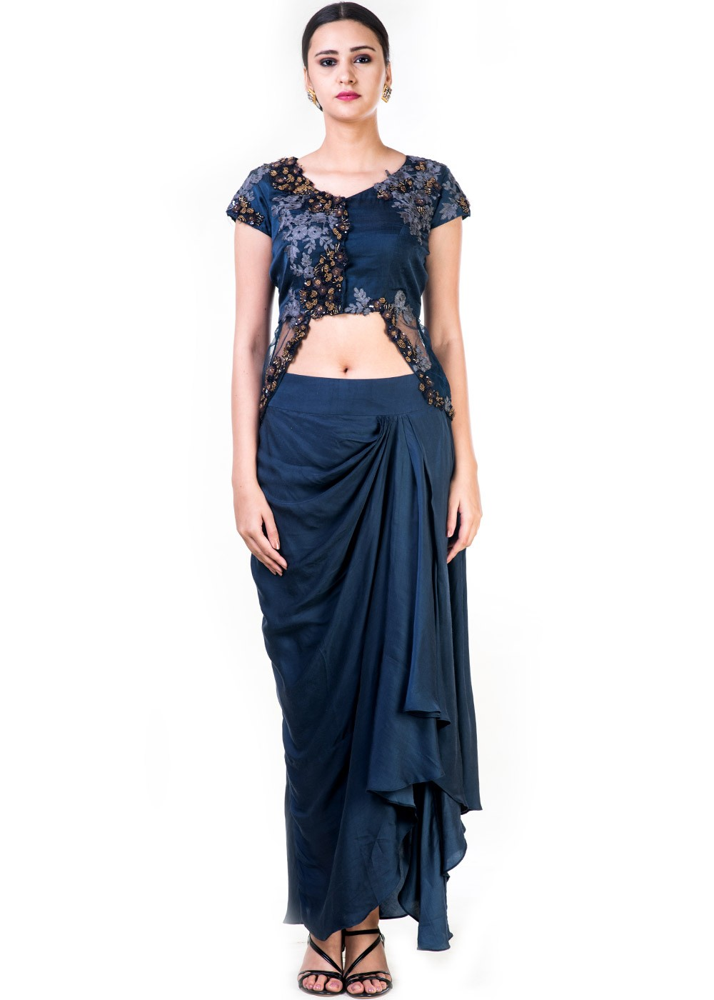 657118b3ba652 Indo Western Outfits  Buy Navy Blue Satin Crop Top With Draped Skirt ...