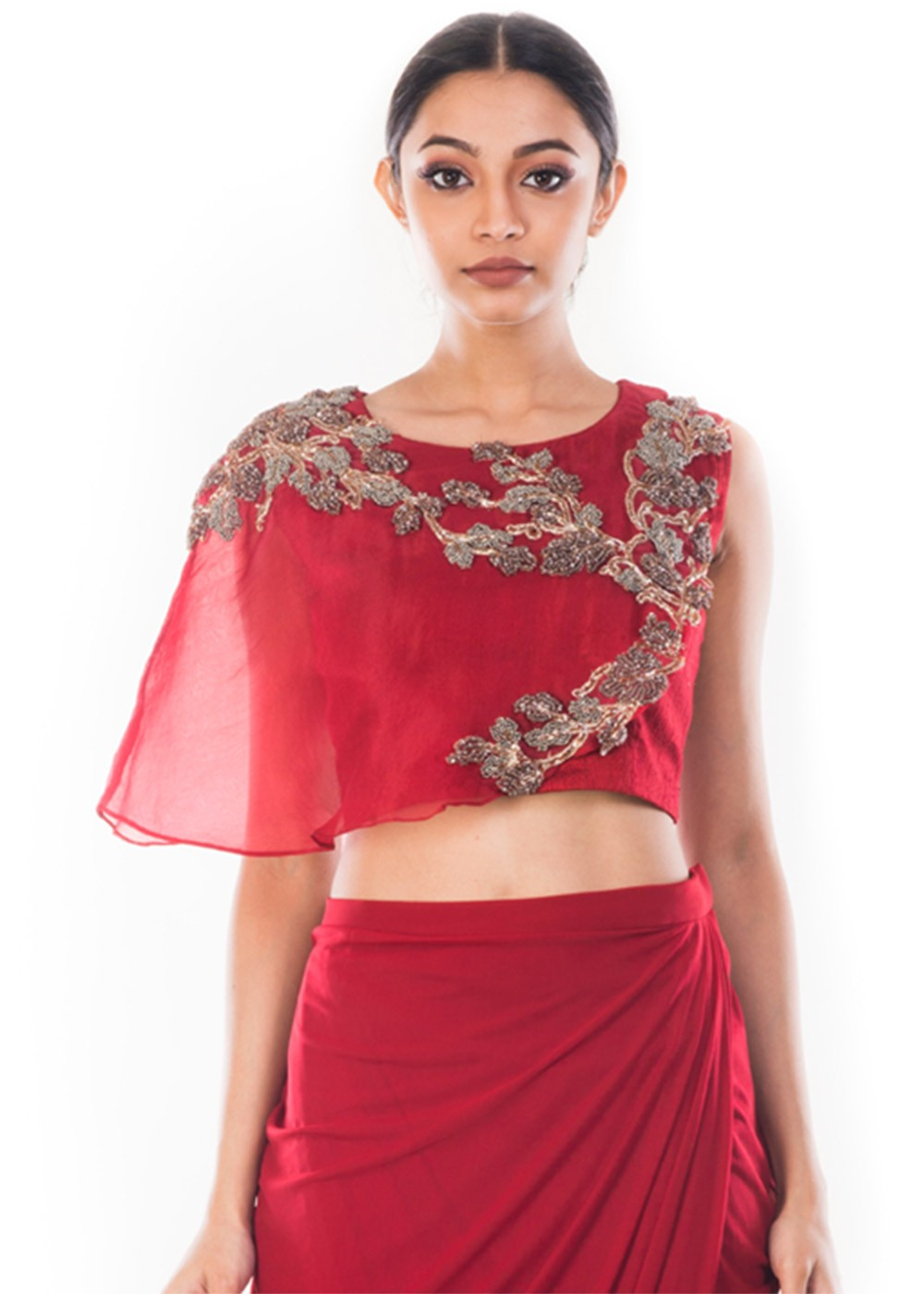 51cfd6d810d4e6 Maroon Raw Silk Crop Top With Skirt 119TB09