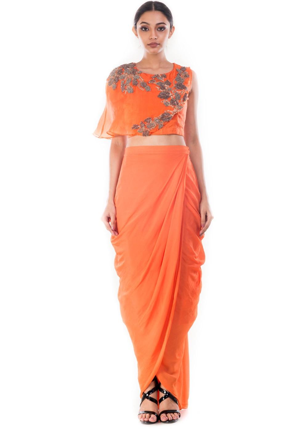d556c0d3f Orange Raw Silk Crop Top With Skirt 119TB11