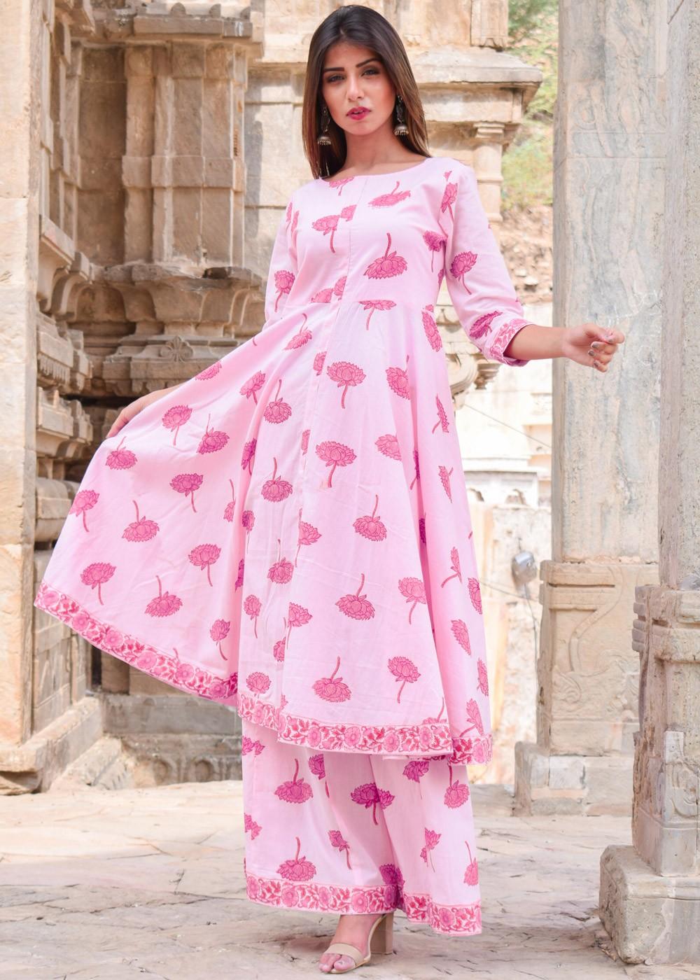 d927d68bfd9f Pink Cotton Block Printed Kurti Sharara Set 112TB06